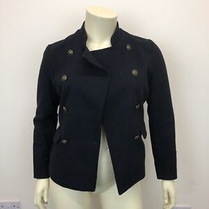 12 jas Smart Short Uk dames Jacket Double Breast Look Wol Maat New Marineblauw TFqq7
