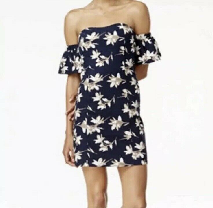 J.O.A. Navy Floral Off Shoulder 100% Linen Mini Dress Small Blue MSRP $113
