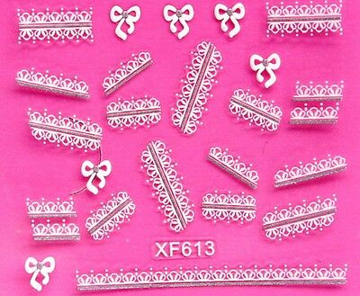 Silver White Tips Bows Flowers 3D Nail Art Stickers UV Acrylic Decals Decoration
