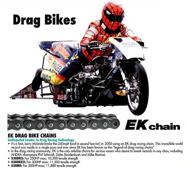 EK 530 DRZ2 Chrome Drag Racing Chain 160 Links 530DRZ2