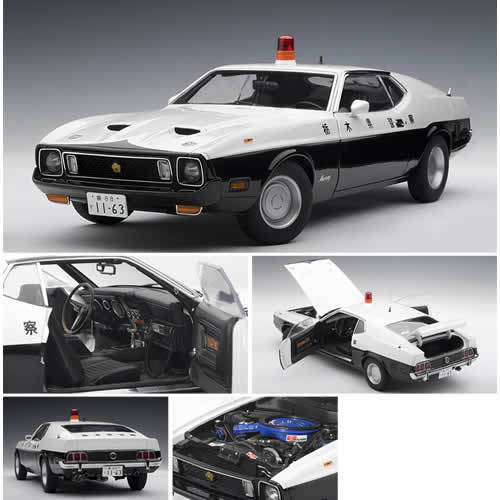 1971 FORD MUSTANG MACH 1 JAPANESE POLICE CAR 1:18 by AUTOART  72826 NEW IN BOX