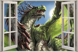 Huge-3D-Window-view-Fantasy-Dragons-Wall-Sticker-Decal-956