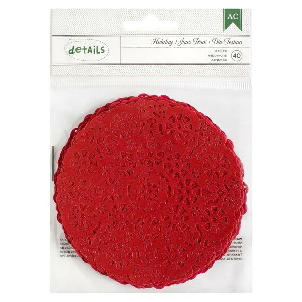PAPER DOILY RED WHITE or GREEN 40 Pack 105mm across 3 Colour Choice AC L6H