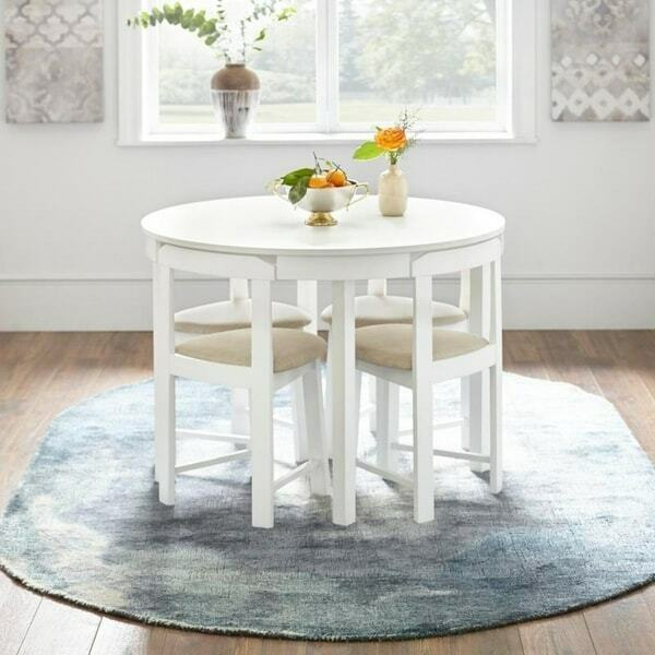 Compact Dining Set Round White Kitchen Small Space Saving Table Wood 5 Pc