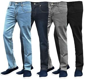 Mens-Slim-Fit-Jeans-Stretch-Straight-Leg-Denim-Pants-Work-Casual-Trousers