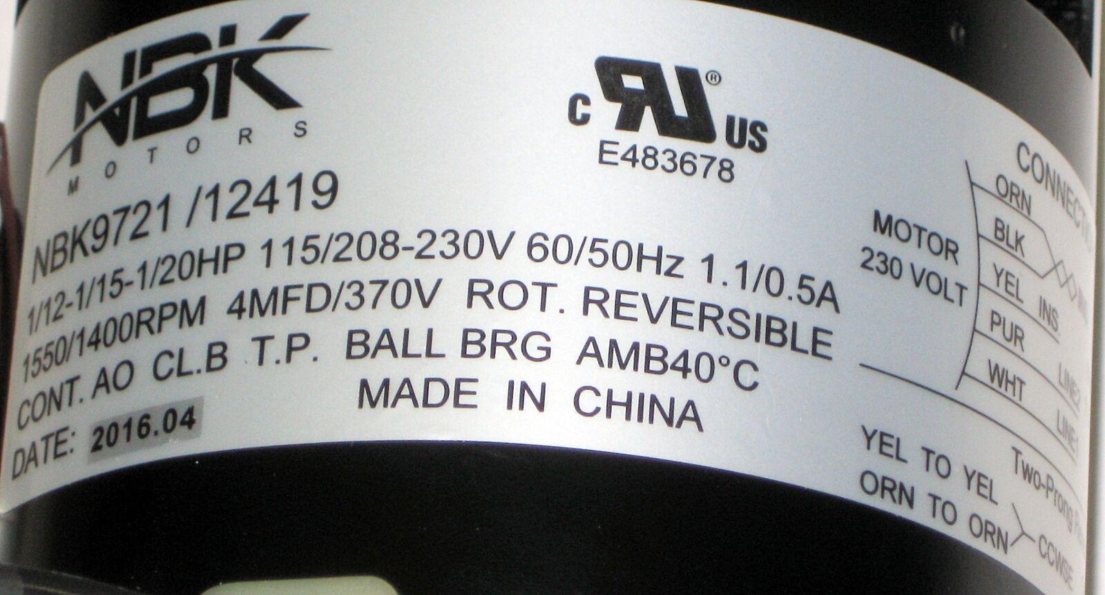 Replacement Refrigeration Motor for Bohn 25309101 Century 9721 Fasco D1127