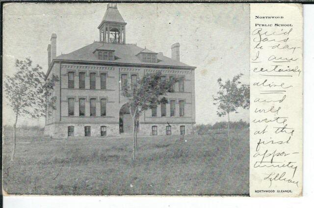 CA-401 ND, Northwood, Nortwood Public School, Undivided Back Postcard Gleaner