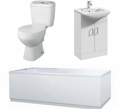 Bathroom Suite 1500mm Bath 550mm Mayford Vanity Unit Close Coupled Toilet Pan