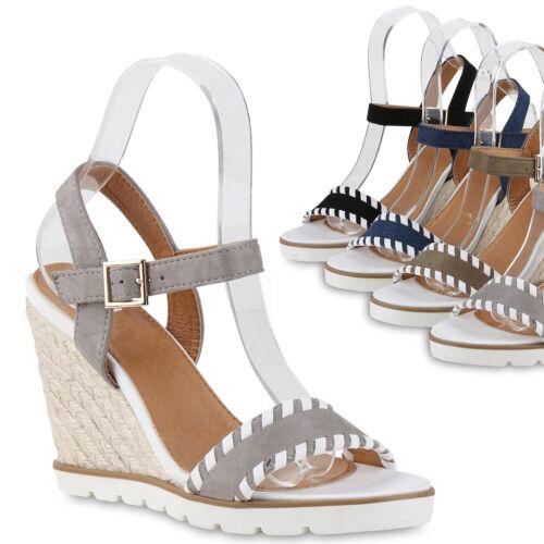 Damen Sandaletten Bast Wedges Keilabsatz Sommerschuhe Plateau 817101 Trendy