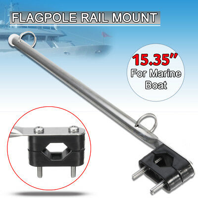 Boat Marine Hardware 39cm Stainless Steel Rail Mount Flag Staff Pole