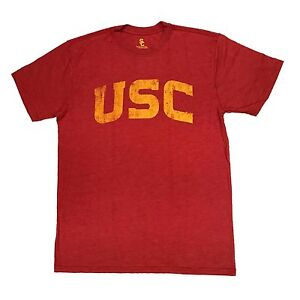 913c68d05 Details about USC Trojans Men s Distressed Arched Crew Neck T-Shirt - Cardinal  Red