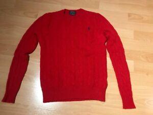 reputable site 201c3 570f0 Details zu Polo Ralph Lauren Damen Pullover Wolle/Kaschmir Zopfmuster Rot  Gr. XS