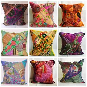 Patchwork-Sari-Indio-Grande-de-24x24-Cubierta-Cojin-etnico-Vintage-Cubre-Tapiz