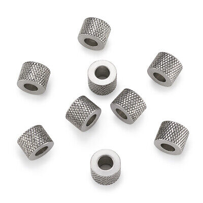 5pcs 304 Stainless Steel Metal Beads Grooved Column Loose Spacer Large Hole 10mm