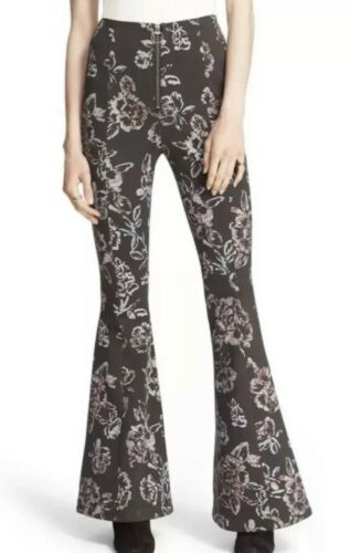 FREE PEOPLE HIGH WAISTED FLORAL PRINT BELL BOTTOMS