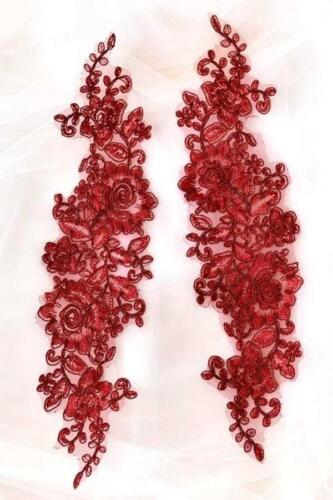"Lace Embroidered Rose Cluster Appliques Mirror Pair Burgundy Floral 13/"" DH129X"