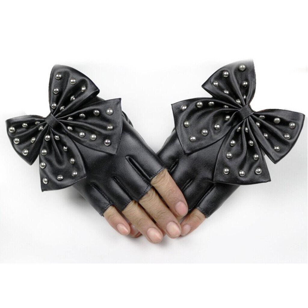 1 Pair Half Finger Gloves Lady PU Leather Rivet Mitten Black for Dancing