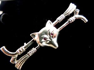 Beautiful Sterling Silver 925 Fox Head Crop Brooch Stock Pin Brand New