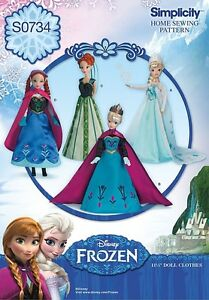 """Simplicity Pattern S0734 for Disney/'s Frozen Costumes 11 1//2/"""" Doll Clothes"""
