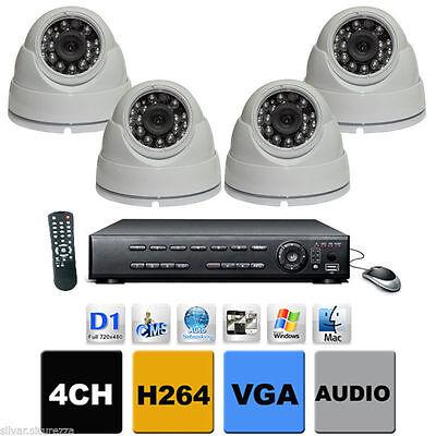 Kit Completo Cablato Dvr 4 Canali + 4 Dome Sony Dahua + 4 Alim.