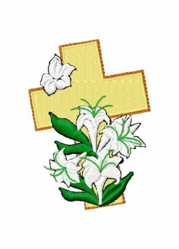 Easter Crosses 10 Machine Embroidery Designs on multi format CD Lilies Eggs 4x4