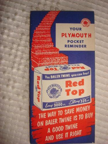 1956 PLYMOUTH BALER TWINE ADVERTISING POCKET REMINDER BOOKLET