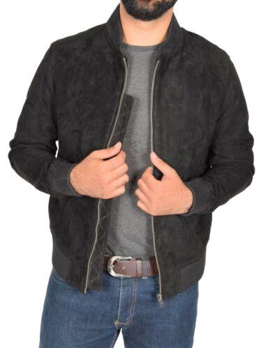 Mens Soft Goat Suede Bomber Jacket Slim Fit Sports Varsity Baseball Coat Black