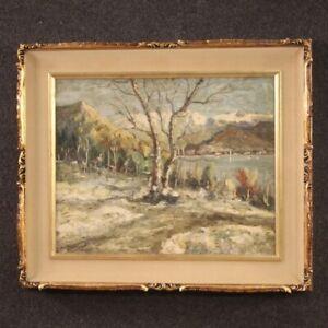 Dipinto firmato paesaggio quadro Lago Maggiore olio su masonite stile antico
