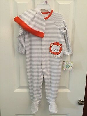 "LITTLE ME 100/% Cotton White and Grey Stripe /""LITTLE LION/"" Footie w//Hat NWT"