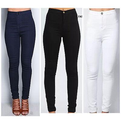 Ladies Women High Waisted Skinny Slim White Jeans Jeggings Pants 6 8 10 12 14 16