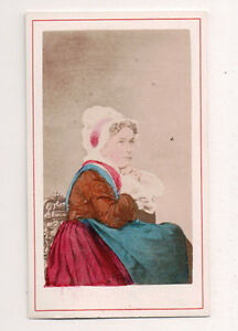 Vintage-CDV-Handpainted-Lady-of-Dijon-France-Traditional-National-Costume