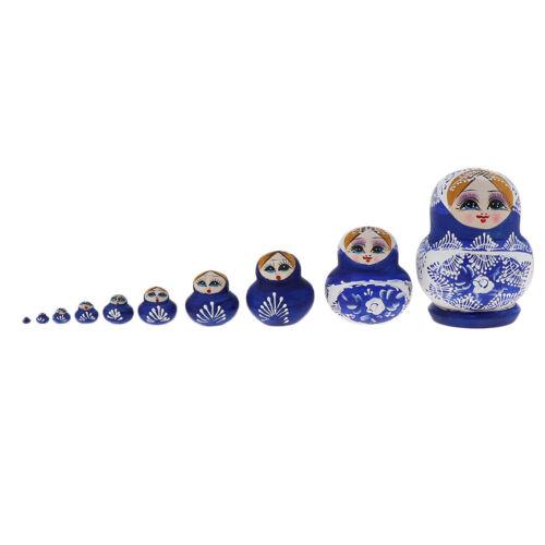 10pcs Russian Nesting Doll Babushka Matryoshka Stacking Dolls Collections