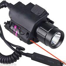 New Red Laser Sight&CREE LED Flashlight fit For Pistol Gun Glock Rail 20mm #y258