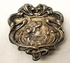 Vtg Metropolitan Museum of Art Silverplate Belt Buckle Art Nouveau Woman MMA