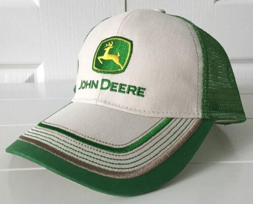 John Deere Stone /& Green Mesh Hat Cap w Contrast Stitching Adjustable