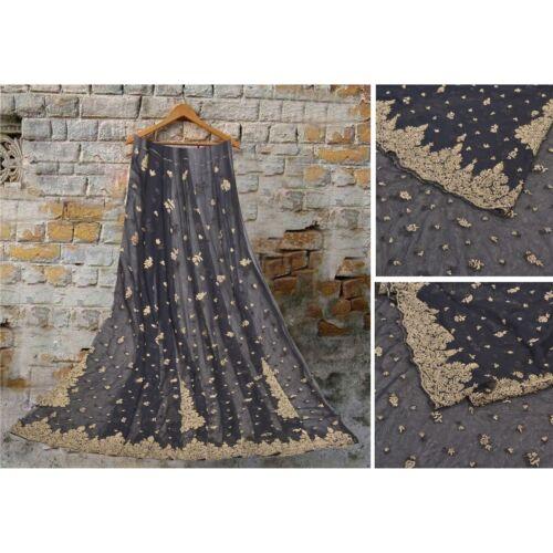Sanskriti Vintage Long Skirt Net Mesh Black Handma