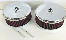 "2 Chrome 6 x 2 6"" x 2"" Air Cleaner SBC Chevy Ford Fits Holley Edelborck 4 Brl V8"