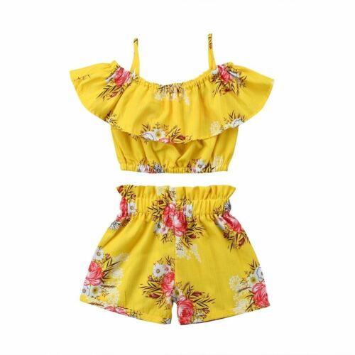 2Pcs Toddler Baby Kids Girl Floral Outfits Little Strap Vest Tops+Shorts Clothin
