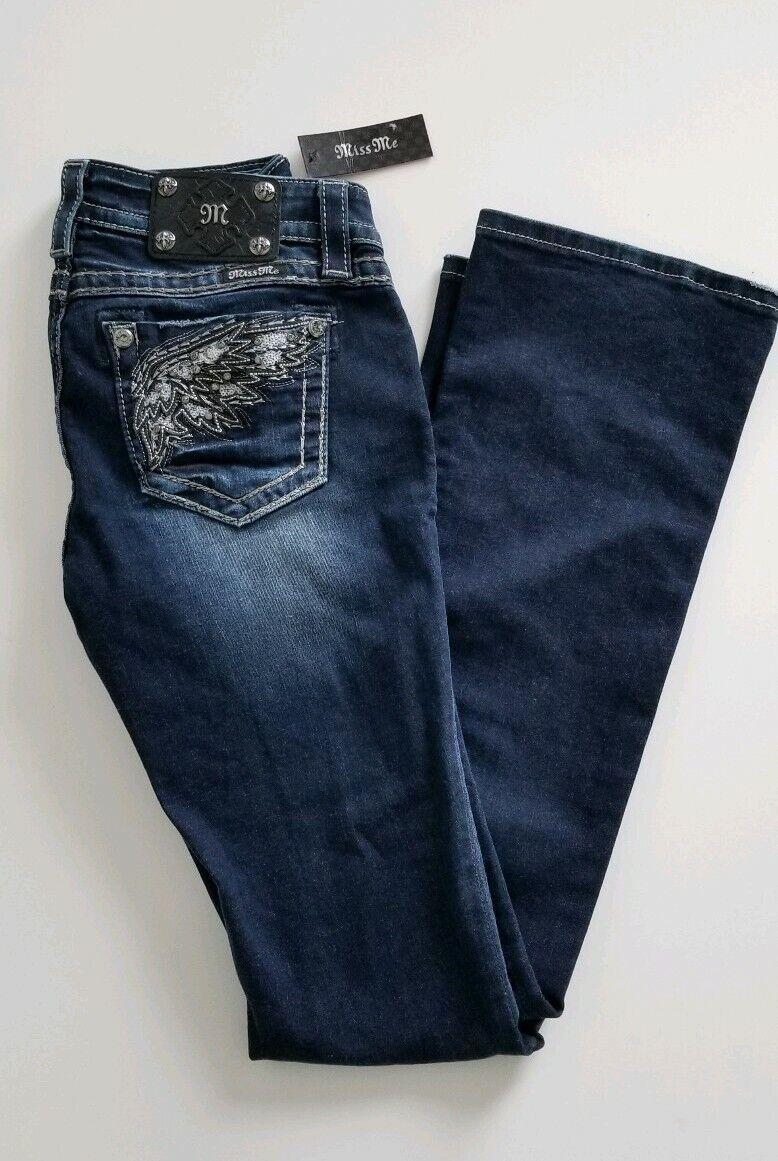 MISS ME Jeans MID-RISE BOOT Rhinestone 27 Pants Inseam 34 MP7072B2 WINGS