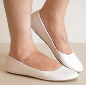 New-Soft-Ballet-Flats-Rubber-Grip-White-Size-6-10