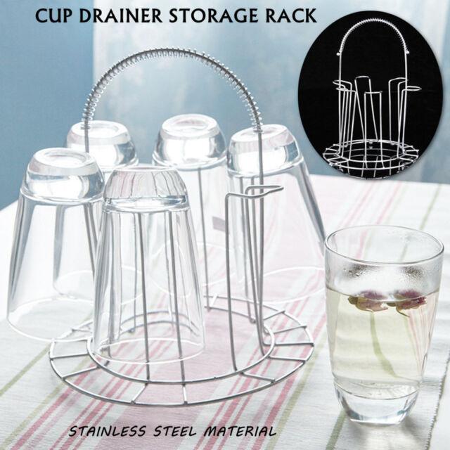 Mug Tree Holder Drying Hanging Stainless Steel 6 Cups Coffee Tea Glass Stand