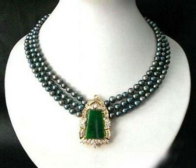 Exquisite 3 Rows Real Light Green Jade 18KGP Flower Clasp Necklace