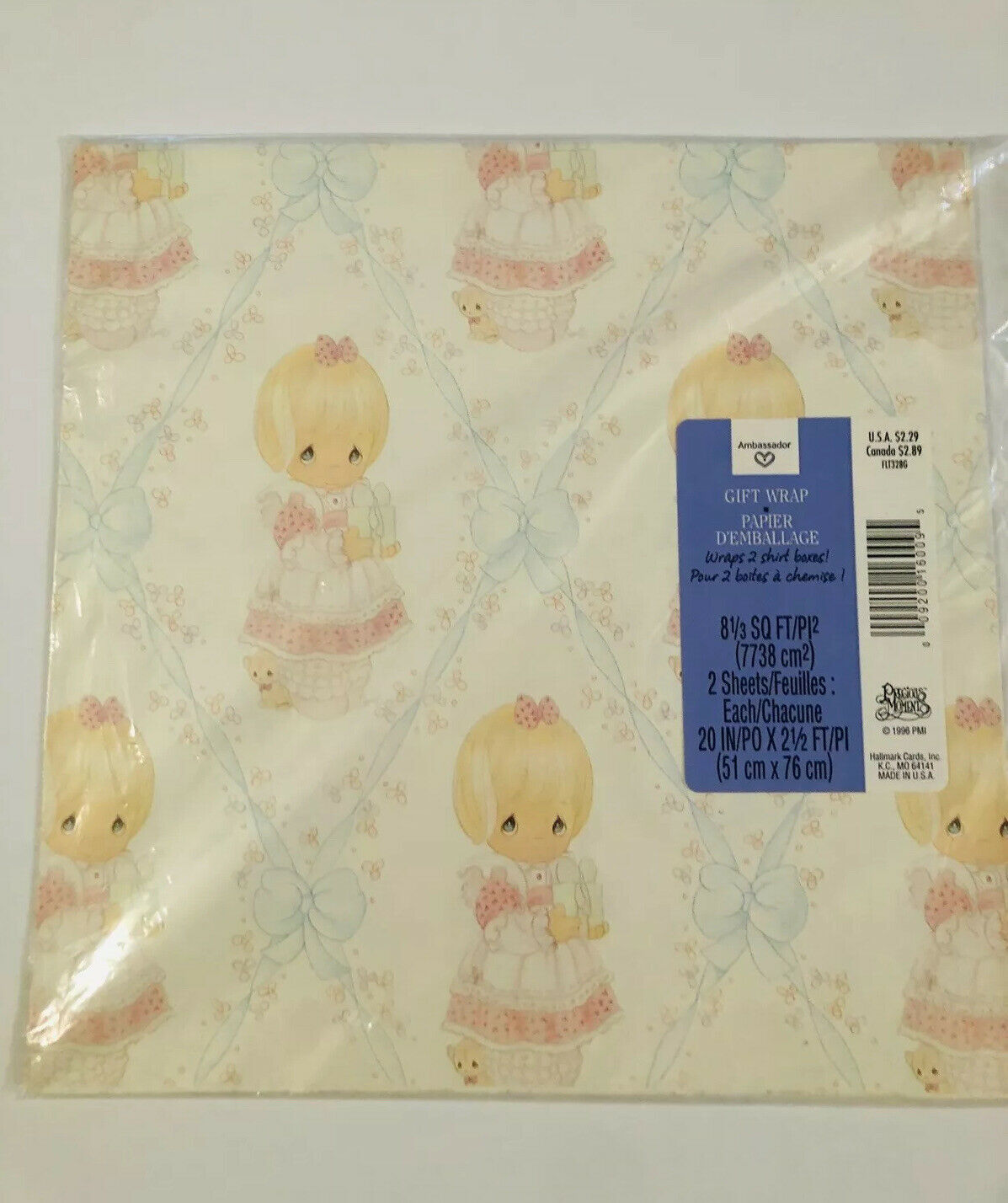 Vintage Precious Moments Ambassador Hallmark Gift Wrap Wrapping Paper  Birthday for sale online