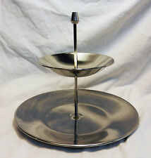 Oneida Stainless Steel Diseño Modernista Dos Niveles Pastel/Té Stand-Bnwt