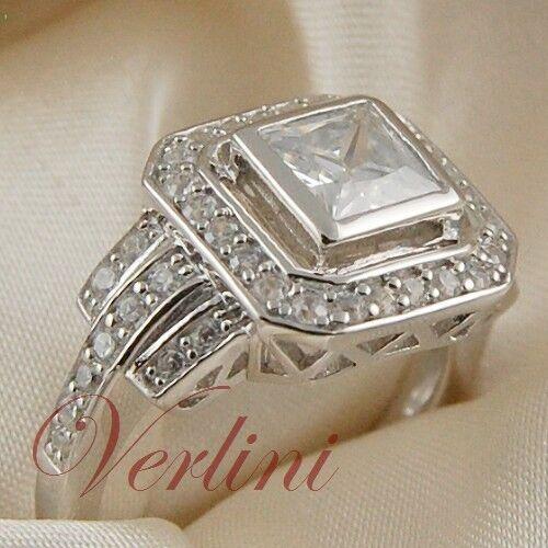 2.25 Ct Princess Cut Diamond Simulated Women's Silver Ring Jewelry Size 5-10