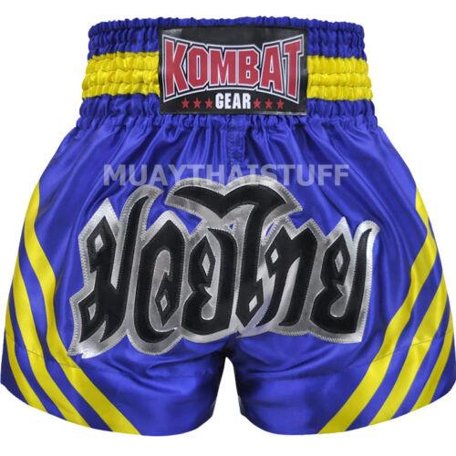 Kombat Muay Thai Kick Boxing Shorts KS7A Satin Black Blue Pink White Training