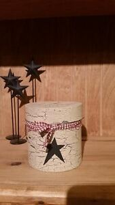primitive country decor small container cracked paint black star or custom