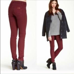 Joe's Jeans Maroon Visionaire Stretch Womens Skinny Jeans Size 25 $189