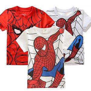 Kids-Boy-Cartoon-Spiderman-Clothes-Short-Sleeve-T-shirt-Summer-Casual-Loose-Tops