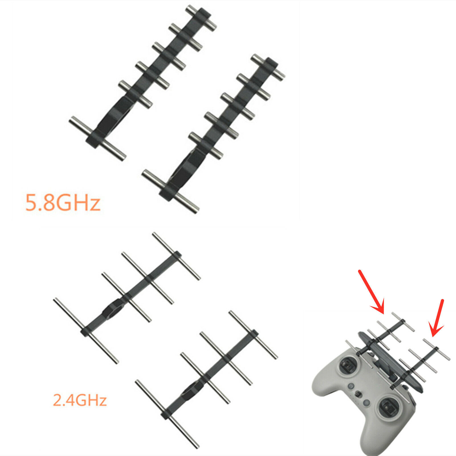 2.4/5.8GHz Signal Booster Extended Range Yagi Antenna for DJI FPV Remote Control
